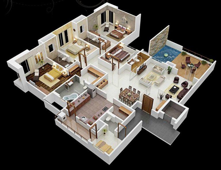 4-bedroom-bungalow-house-plan-768x591