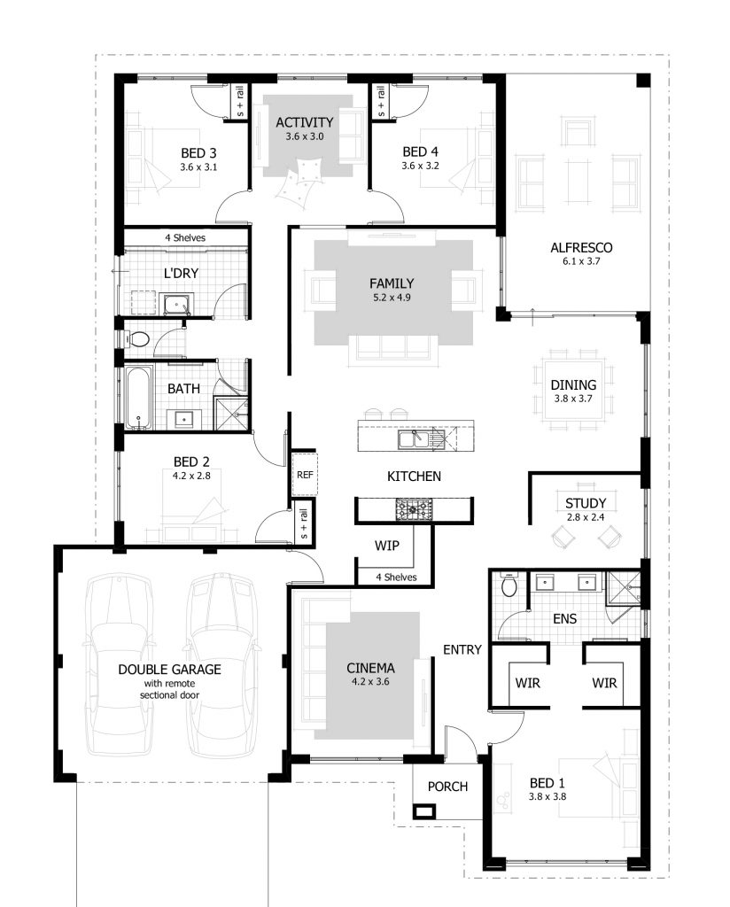 4 bedroom bungalow house plans in nigeria verge hub for Four room house design
